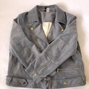H&M faux suede bomber jacket